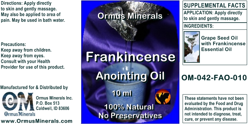 Ormus Minerals Frankincense Anointing Oil 10 Ml